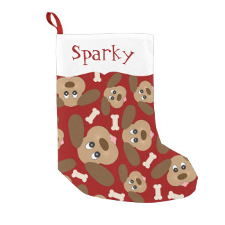 Cute Dog Faces Personalized Small Christmas Stocking