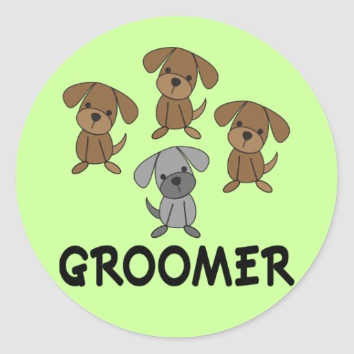 Cute Dog Groomer Occupation Gift Round Stickers