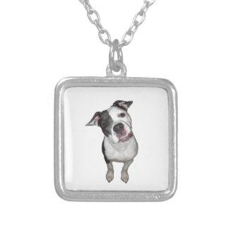 Cute dog head tilt silver plated necklace