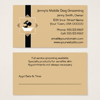 Cute Dog in Bathtub Pet Dog Groomer Appointment | Business Card