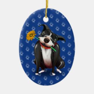 Cute Dog Lover Christmas Ornaments | Blue Pitbull