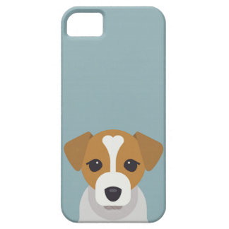 Cute dog on cyan background iPhone 5 cases