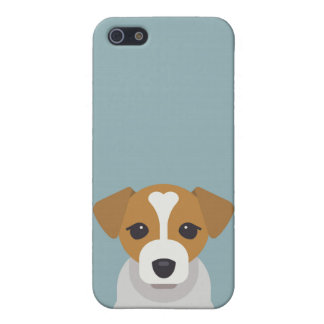 Cute dog on cyan background iPhone 5 cover