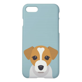 Cute dog on cyan background iPhone 7 case