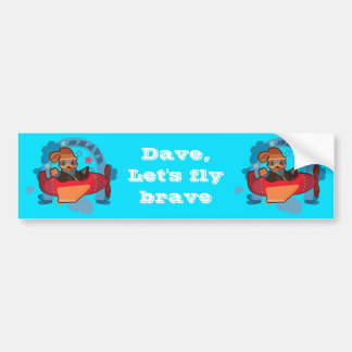 Cute Dog on flying plane fun cartoon illustration Bumper Sticker
