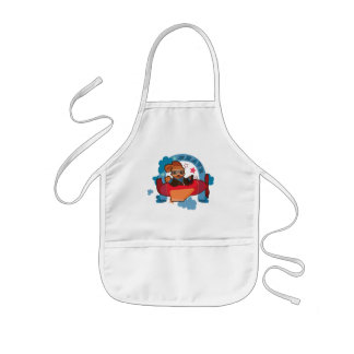 Cute Dog on flying plane fun cartoon illustration Kids Apron