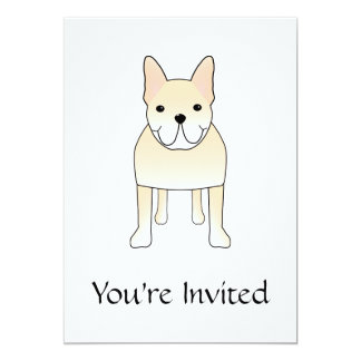 Cute Dog. Pale Cream French Bulldog. Card