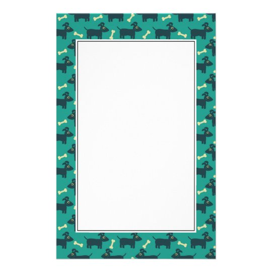 Cute Dog Pattern with Bone on Green Background Stationery