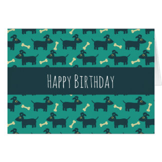 Cute Dog Pattern with Floppy Ears & Bone Birthday Card