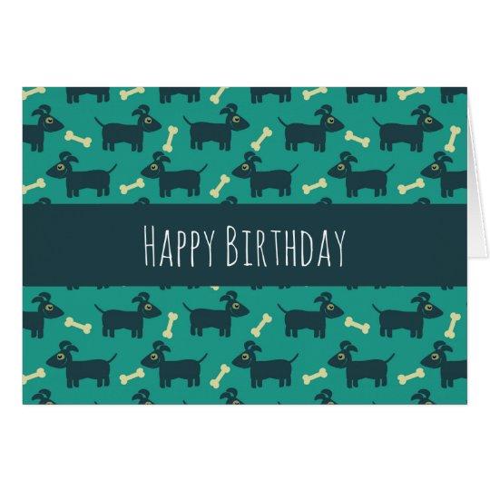 Cute Dog Pattern with Floppy Ears & Bone Birthday Card