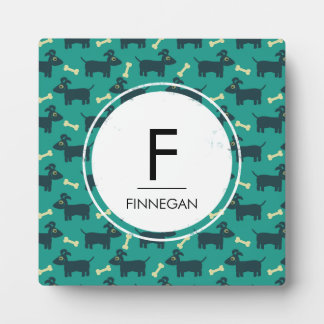 Cute Dog Pattern with Floppy Ears & Bone Monogram Plaque