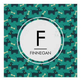 Cute Dog Pattern with Floppy Ears & Bone Monogram Poster