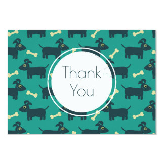 Cute Dog Pattern with Floppy Ears & Bone Thank You Card