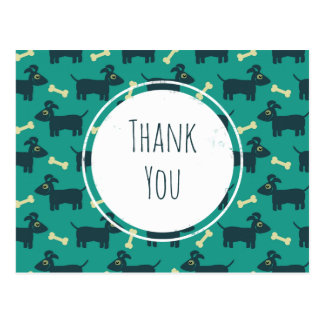 Cute Dog Pattern with Floppy Ears & Bone Thank You Postcard