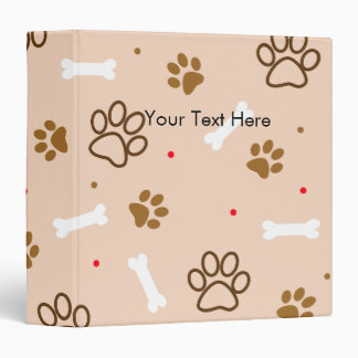 Cute dog pattern with paws bones tiny polka dots binders
