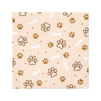 Cute dog pattern with paws bones tiny polka dots canvas print