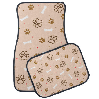 Cute dog pattern with paws bones tiny polka dots car mat
