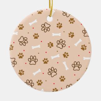 Cute dog pattern with paws bones tiny polka dots ceramic ornament