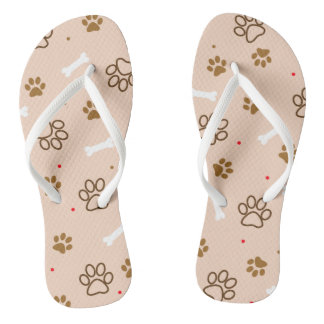 Cute dog pattern with paws bones tiny polka dots flip flops