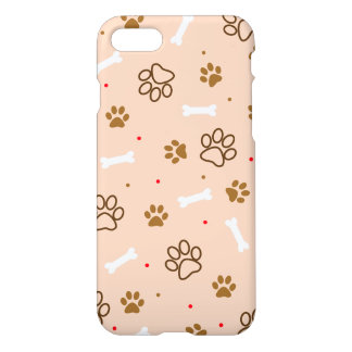 Cute dog pattern with paws bones tiny polka dots iPhone 8/7 case