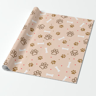Cute dog pattern with paws bones tiny polka dots wrapping paper