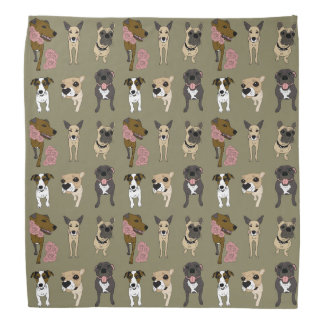 Cute dog patterned print bandana