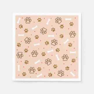 cute dog paws and bones polka dots pattern disposable napkins