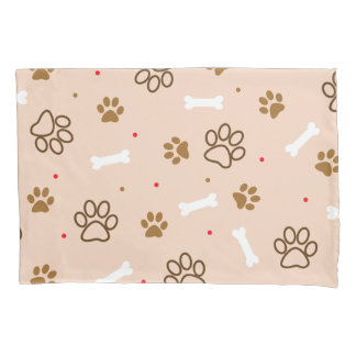 cute dog paws and bones polka dots pattern pillowcase