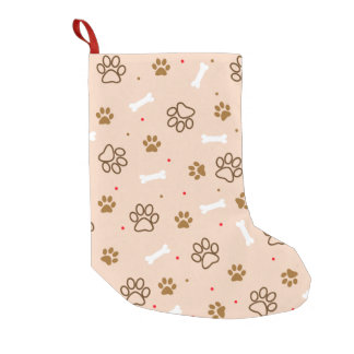 cute dog paws and bones polka dots pattern small christmas stocking