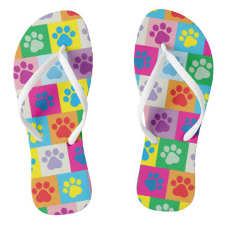 Cute Dog Paws Patchwork Pattern Flip Flops