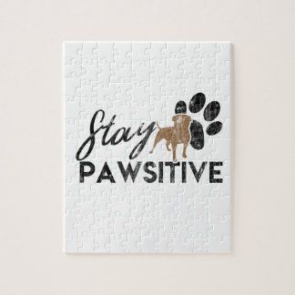 Cute Dog Paws Stay Pawsitive Rescue Jigsaw Puzzle