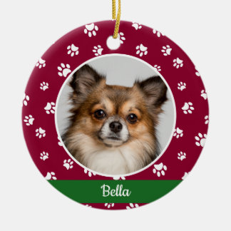 Cute Dog Photo Name Year Red and White Paw Prints Ceramic Ornament