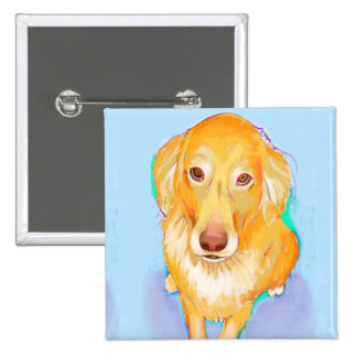 Cute dog portrait painting golden retriever art button