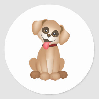 Cute dog / puppy round sticker