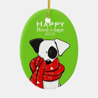 Cute Dog Red Scarf Christmas Modern Stripe Ornament