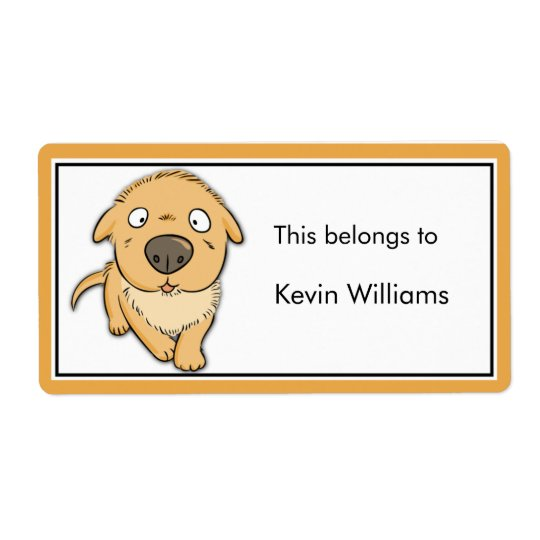Cute Dog School Supplies Labels