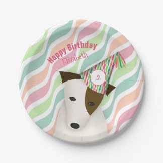 cute dog wearing a party hat pink girl's birthday 7 inch paper plate