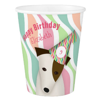 cute dog wearing a party hat pink girl's birthday paper cup