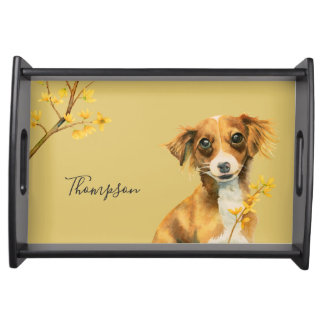 Cute Dog with Forsythia | Add Your Family Name Serving Tray