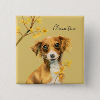 Cute Dog with Forsythia | Add Your Name 2 Inch Square Button