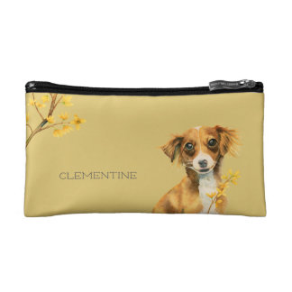 Cute Dog with Forsythia | Add Your Name Cosmetic Bag
