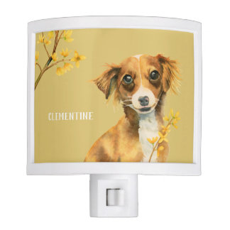 Cute Dog with Forsythia | Add Your Name Night Lite