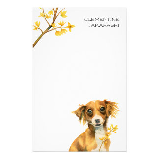 Cute Dog with Forsythia | Add Your Name Stationery