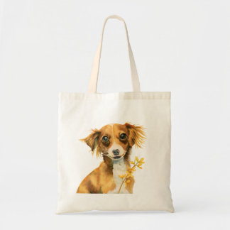 Cute Dog with Forsythia Watercolor Illustration Tote Bag