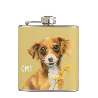 Cute Dog with Forsythia Watercolor | Monogram Hip Flask