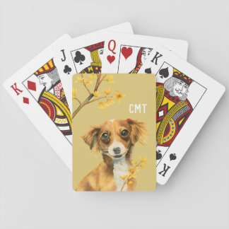 Cute Dog with Forsythia Watercolor | Monogram Playing Cards