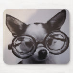 Cute Dog with Glasses Mouse Pads
