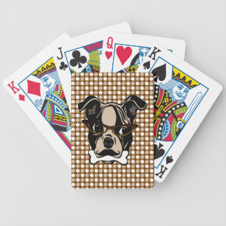 Cute Dog with Mustache, Eyeglasses & Bone in mouth Bicycle Playing Cards