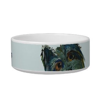 Cute Dog Yorkie Pop Art Painting in Blue and Green Bowl