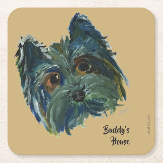 Cute Dog Yorkie Pop Art Painting in Blue and Green Square Paper Coaster